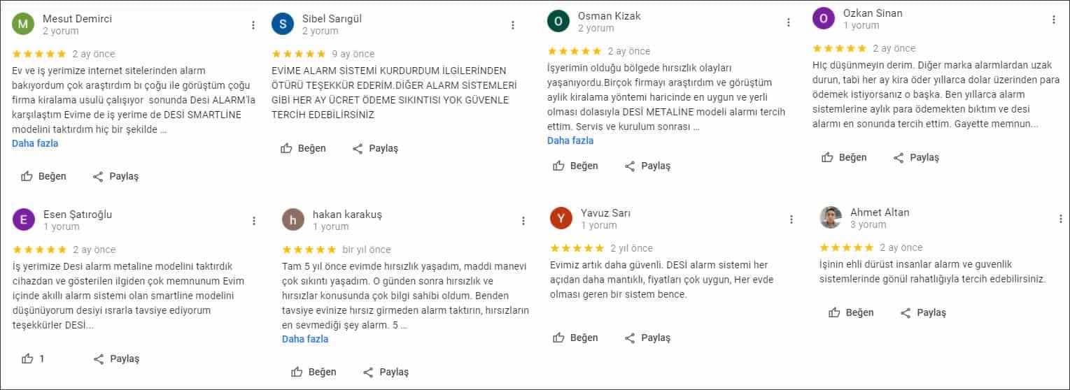 Desi Alarm Müşteri Yorumları